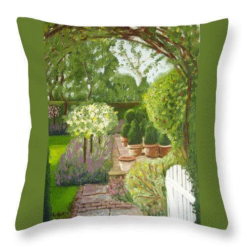 Garden Throw Pillow featuring the painting Walk With Me by Laurie Morgan
