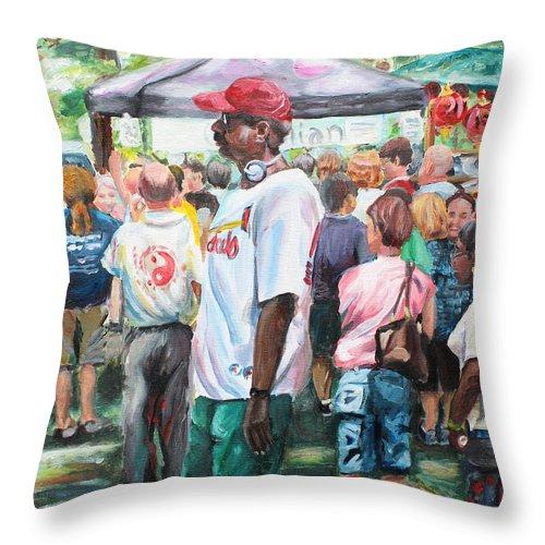 Walking Man Throw Pillow featuring the painting Walkin' Man by Carol Boss
