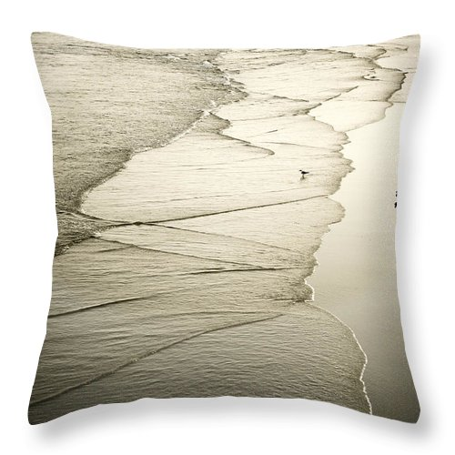 Ocean Throw Pillow featuring the photograph Walking Along The Beach At Sunrise by Marilyn Hunt