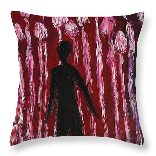 Walking Away Throw Pillow featuring the painting Walking Away by Marianna Mills