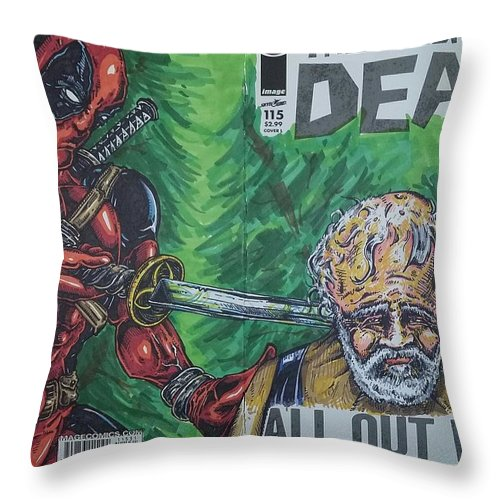 Deadpool Throw Pillow featuring the drawing Walking Dead Deadpool Mash-up by Michael Toth