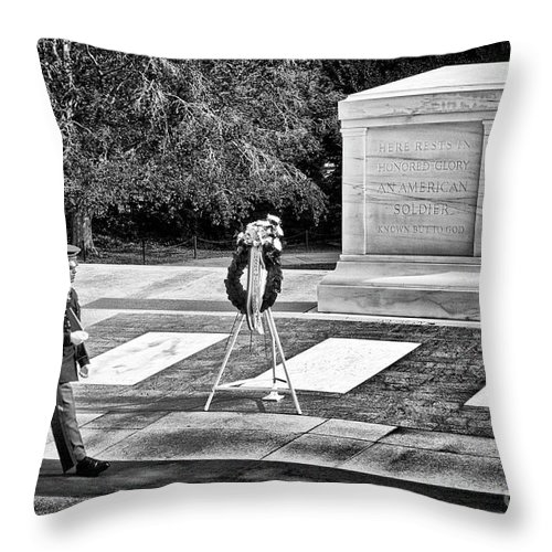 Arlington Throw Pillow featuring the photograph Walking His Post by Paul W Faust - Impressions of Light