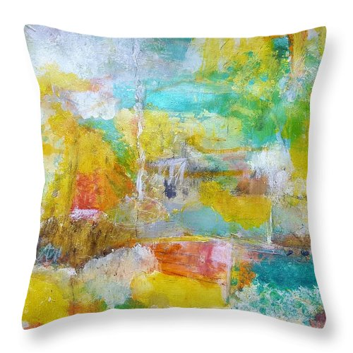 Abstract Throw Pillow featuring the painting Walking Home by Patricia Byron