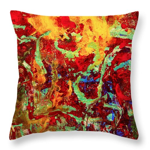 Abstract Throw Pillow featuring the painting Walking In The Garden by Natalie Holland