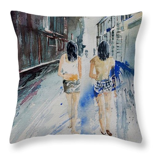 Girl Throw Pillow featuring the painting Walking In The Street by Pol Ledent
