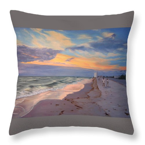 Seascape Throw Pillow featuring the painting Walking On The Beach At Sunset by Lea Novak