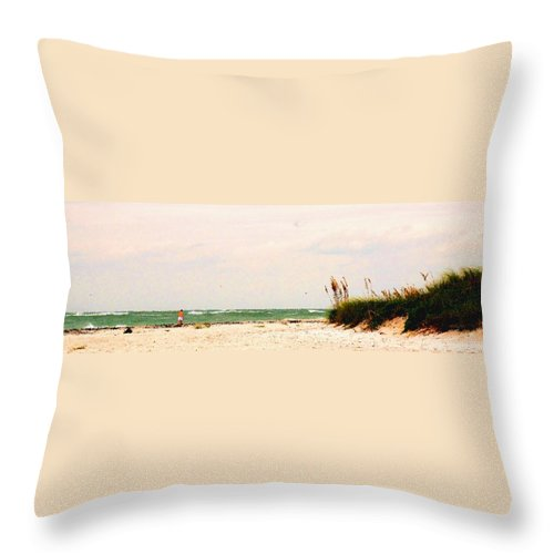 Florida Throw Pillow featuring the photograph Walking The Beach by Ian MacDonald