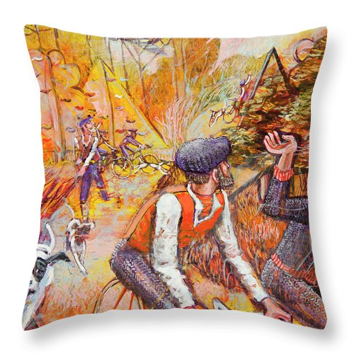 Landscape Throw Pillow featuring the painting Walking The Dog 7 by Mark Jones