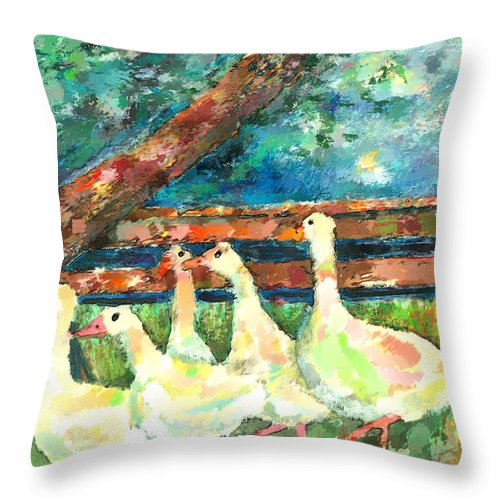 Ducks Throw Pillow featuring the mixed media Walking Through The Grass by Arline Wagner