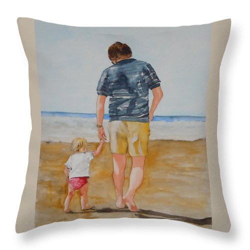 Beach Throw Pillow featuring the painting Walking With Pops by Jean Blackmer