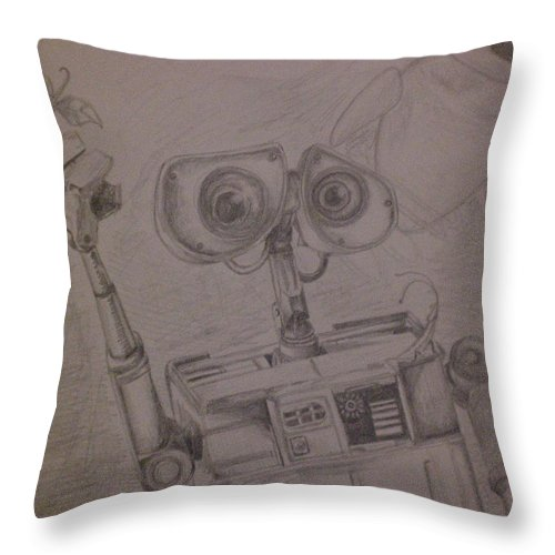 Wall-e Throw Pillow featuring the drawing Wall-e With Plant by Lisa Leeman