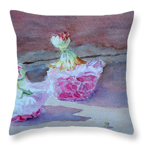 Doolls Throw Pillow featuring the painting Wall Flowers by Jenny Armitage
