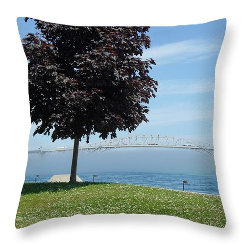 Bluewater Bridge Throw Pillow featuring the photograph Wall Of Fog by Peggy King