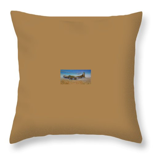 B-17 wallaroo Over Schwienfurt Throw Pillow featuring the painting Wallaroo at Schwienfurt by Scott Robertson