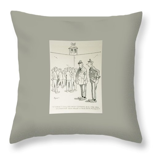 Cartoon Throw Pillow featuring the drawing Wallet by William Spaar Jr