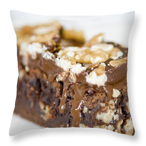 American Throw Pillow featuring the photograph Walnut Brownie On A White Plate by U Schade
