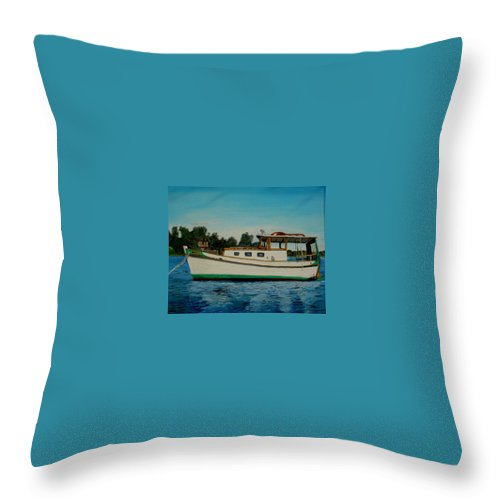 Wooden Boat Throw Pillow featuring the painting Walrus by John Schuller