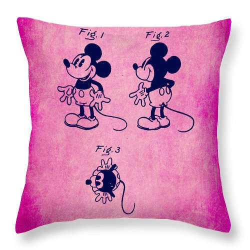 Patent Throw Pillow featuring the mixed media Walt Disney Mickey Mouse Toy Patent 2g by Brian Reaves