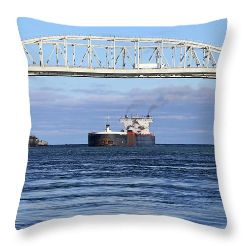 Walter J. Mccarthy Jr. Throw Pillow featuring the photograph Walter J. Mccarthy And Blue Water Bridge 112917 by Mary Bedy