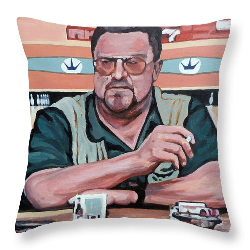 The Dude Throw Pillow featuring the painting Walter Sobchak by Tom Roderick
