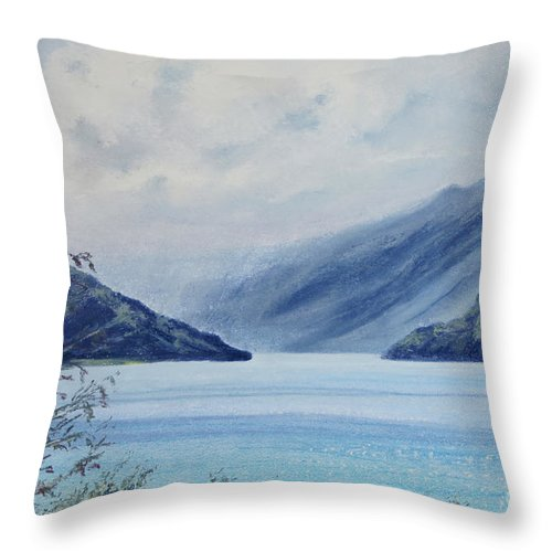 New Zealand Throw Pillow featuring the painting Wanaka Lake by Stanza Widen