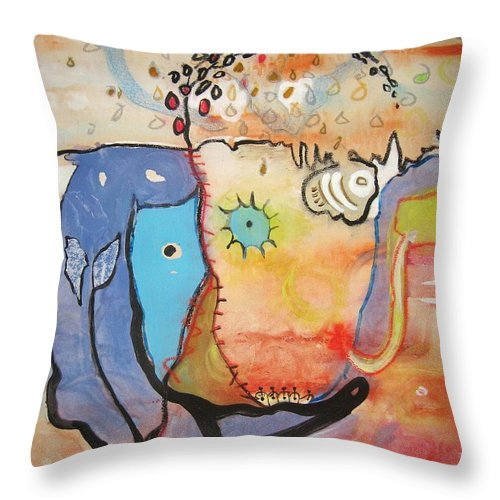 Abstract Paintings Throw Pillow featuring the painting Wandering In Thought by Seon-Jeong Kim