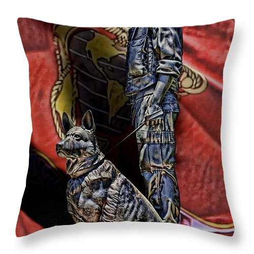 War Dogs Throw Pillow featuring the digital art War Dogs by Tommy Anderson