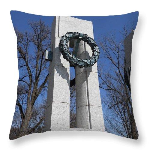 War Throw Pillow featuring the photograph War Memorial D.c. by Alan Espasandin