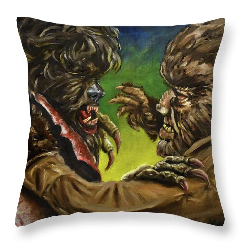 Wolfman Throw Pillow featuring the painting War Of The Lupus by Michael Melillo