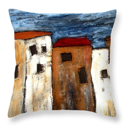 Acrylic Throw Pillow featuring the painting Warehouse Row by Wayne Potrafka