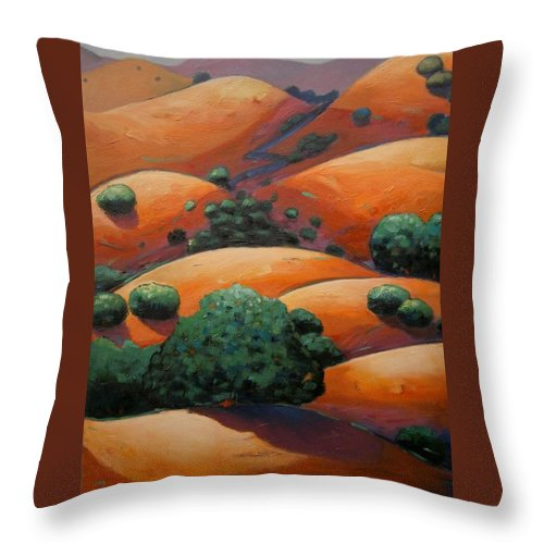 California Landscape Throw Pillow featuring the painting Warm Afternoon Light On Ca Hillside by Gary Coleman