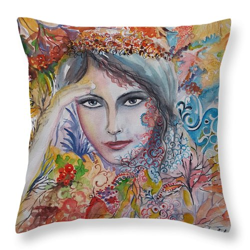 Autumn Throw Pillow featuring the painting Warm Autumn by Rita Fetisov