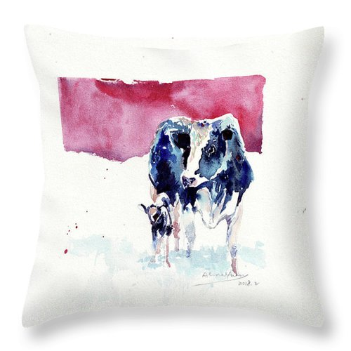 Cute Throw Pillow featuring the painting Warm Cuteness by Alina Yuan