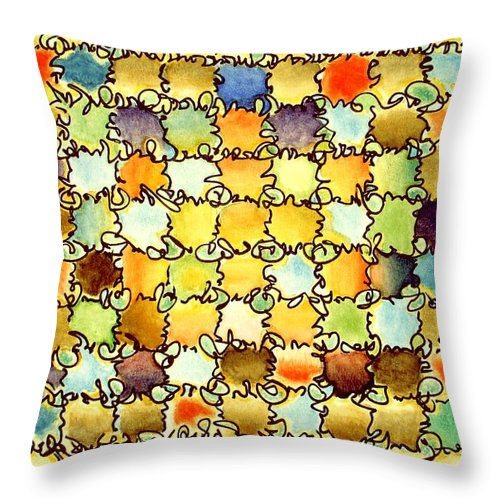 Abstract Throw Pillow featuring the painting Warm Light by Dave Martsolf