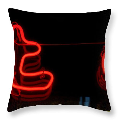 Red Neon Throw Pillow featuring the photograph Warm Neon by Baato