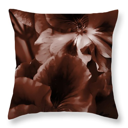 Clay Throw Pillow featuring the photograph Warm Tone Monochrome Floral Art by Clayton Bruster