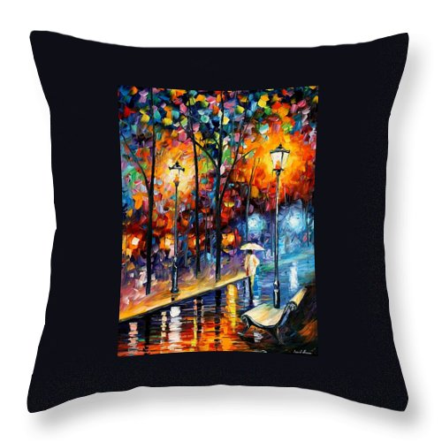 Afremov Throw Pillow featuring the painting Warm Winter by Leonid Afremov