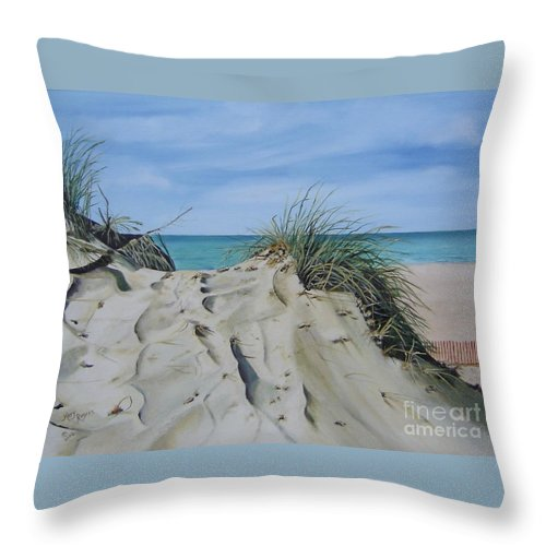 Lake Throw Pillow featuring the painting Warren Dunes by Mary Rogers