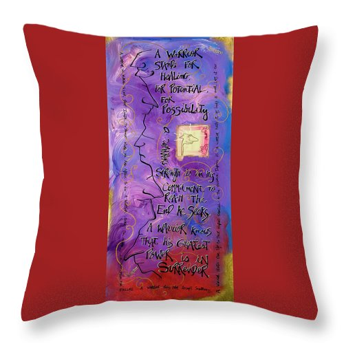 Gallery Throw Pillow featuring the painting Warrior by Dar Freeland