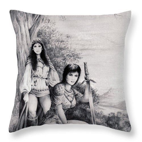 Floral Throw Pillow featuring the drawing Warriors by Rachel Christine Nowicki