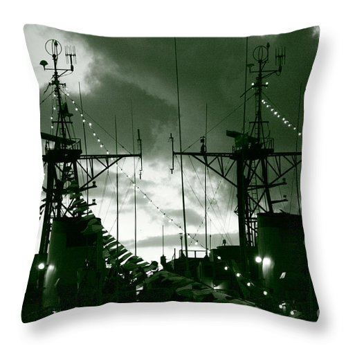 Antenna Throw Pillow featuring the photograph Warships At Twilight by Gaspar Avila