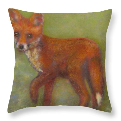 Animal Portraits Throw Pillow featuring the painting Wary Fox Cub by Richard James Digance