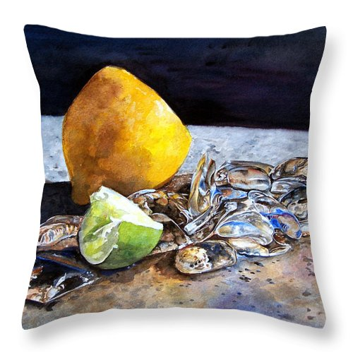 Lemon Throw Pillow featuring the painting Was... by Leyla Munteanu