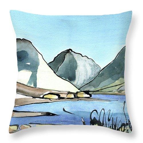 Wasdale Head - English Lake District - Watercolour Original - Fine Art - Mountain Scenery - Landscape Painting -elizabethafox Throw Pillow featuring the painting Wasdale Head by Elizabetha Fox
