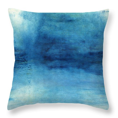 Blue Throw Pillow featuring the painting Wash Away- Abstract Art by Linda Woods by Linda Woods