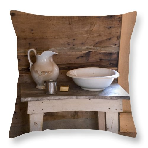 Wash Throw Pillow featuring the photograph Wash Bowl Pitcher And Cup by Douglas Barnett