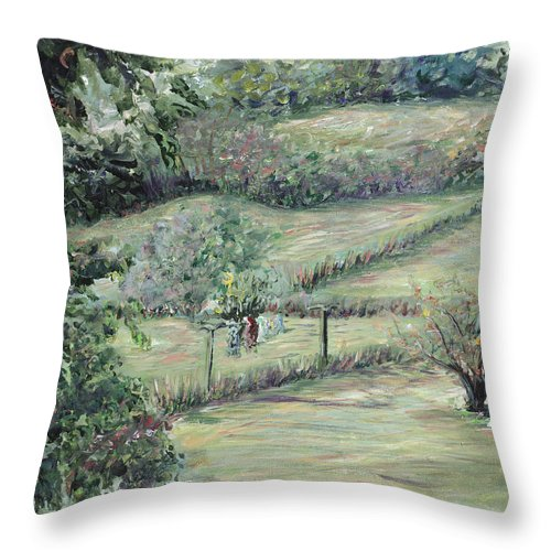Landscape Throw Pillow featuring the painting Washday in Provence by Nadine Rippelmeyer