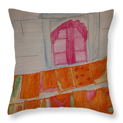 Washing Throw Pillow featuring the painting Washing Day by Janine Bartram