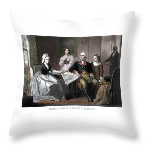 George Washington Throw Pillow featuring the painting Washington And His Family by War Is Hell Store