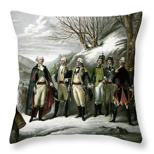 George Washington Throw Pillow featuring the painting Washington And His Generals by War Is Hell Store